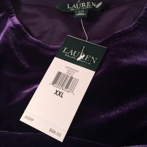 Ralph Lauren Purple Velvet Tunic top 3/4 sleeves